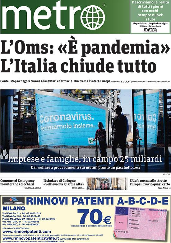 """עיתון החינם """"מטרו"""" ממילאנו, איטליה. """"איטליה סגורה כולה""""  / צילום: צילום מסך"""