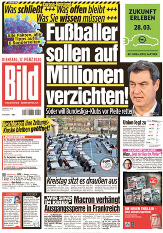 """העיתון הגרמני בילד. """"אנחנו חייבים לעשות כל שביכולתנו להפריע לשרשראות ההידבקות"""" / צילום: צילום מסך"""