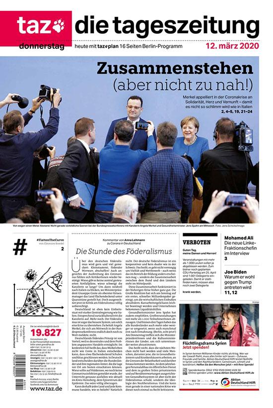 """העיתון הברלינאי TAZ, גרמניה. """"נעמוד יחדיו... אבל לא קרוב מדי"""" / צילום: צילום מסך"""