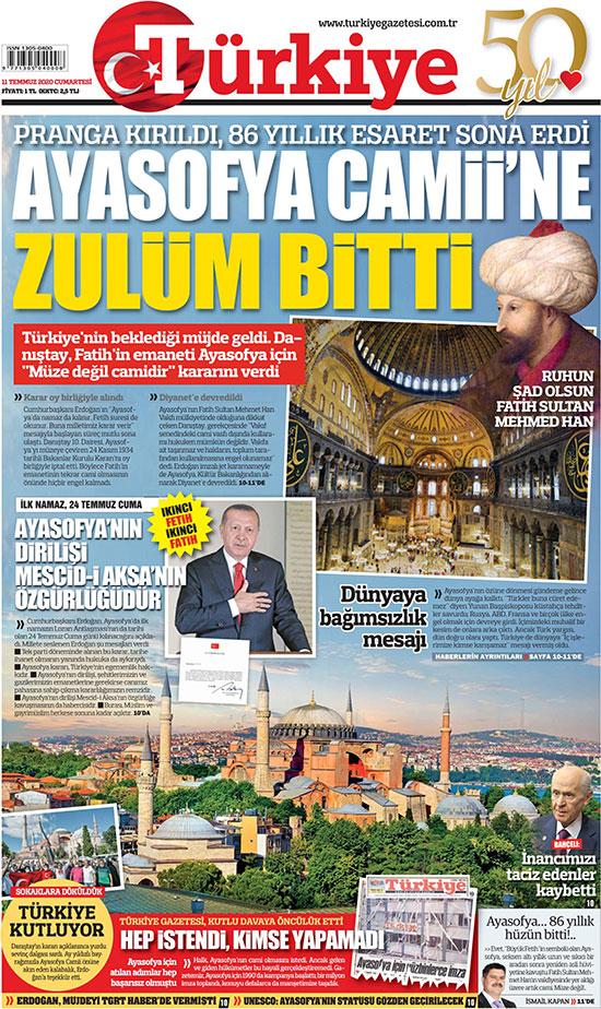 ״רדיפת איה סופיה הסתיימה״, מכריז עיתון טורקי לצד דיוקן של מהמט השני, כובש קונסטנטינופול, 1453  / צילום: צילום מסך