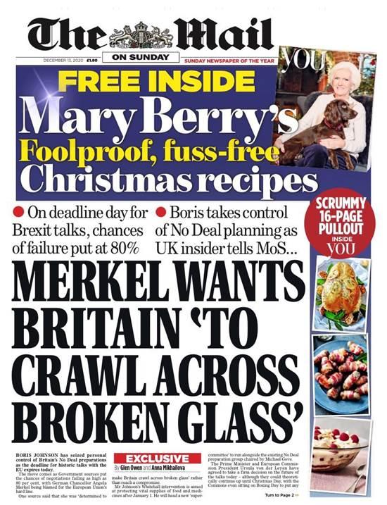 """השער של """"המייל און סנדיי"""" הבריטי. """"מרקל דורשת שבריטניה תזחל על זכוכית שבורה"""" / צילום: צילום מסך"""