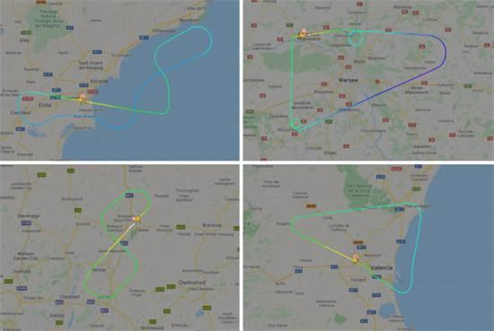 """מסלולי """"טיסות הרפאים"""" של רינאייר / צילום: צילום מסך מאתר flightradar 24"""