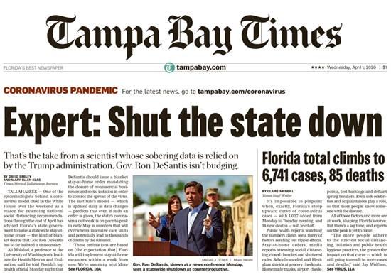 """""""סגור את המדינה"""", קוראת הכותרת בעיתון בעיר טאמפה למושל פלורידה, רון דסאנטיס / צילום: צילום מסך"""