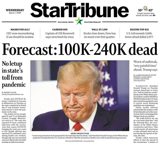 """""""תחזית: 100 אלף עד 240 אלף מתים"""", מכריז עיתון במדינת מינסוטה / צילום: צילום מסך"""
