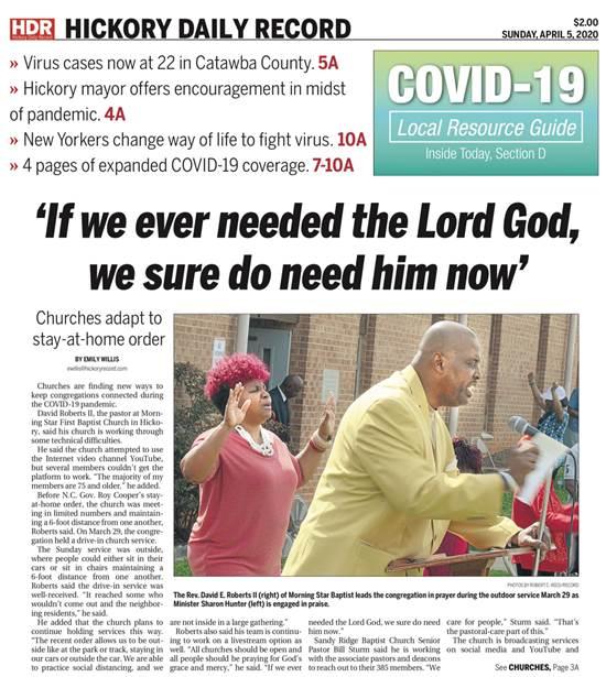 ״אם אי פעם היינו זקוקים לאלוהים, בטוח שאנחנו זקוקים לו עכשיו״, מכריז העיתון הזה, היוצא במדינת צפון קרוליינה / צילום: צילום מסך