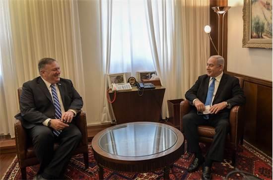"""ראש הממשלה בנימין נתניהו ומזכיר המדינה האמריקאי מייק פומפאו / צילום: קובי גדעון, לע""""מ"""