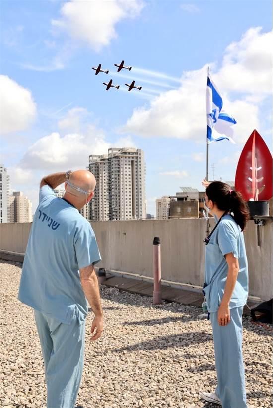 """המטס מעל בית חולים שניידר / צילום: דוברות משרד הבריאות, יח""""צ"""