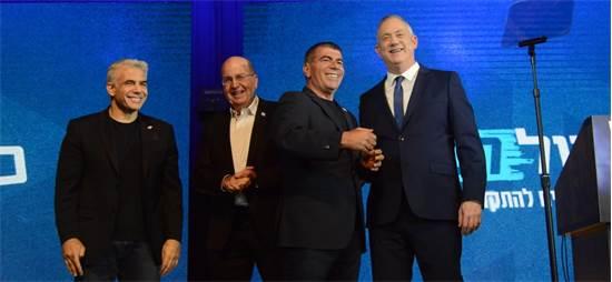 ראשי מפלגת כחול לבן במטה המפלגה אמש אחרי פרסום תוצאות המדגמים / צילום: איל יצהר, גלובס