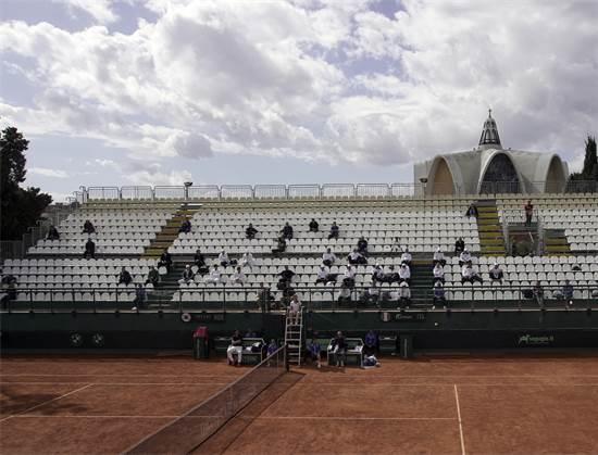 משחק טניס במוקדמות גביע דייויס בין איטליה ודרום קוריאה ב-6 במרץ בקליגרי, איטליה. המשחק סגור לקהל / צילום: Alessandro Tocco/LaPresse, AP