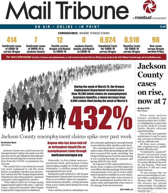 עליה של 432% בבקשות למענקי אבטלה בכותרת הראשית של עיתון במדינת אורגון, בחוף המערבי של ארה״ב / צילום: צילום מסך