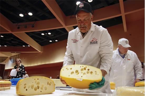 """סטיב סטטלר מחזיק גלגל של גבינת """"בייבי סוויס"""" בתחרות הגבינות העולמית / צילום: Carrie Antlfinger, AP"""