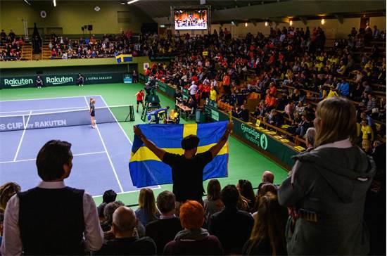 משחק טניס במוקדמות גביע דייויס בין שבדיה לצ'ילה שמתקיים ב-6 במרץ 2020 בשטוקהולם / צילום: SIMON HASTEG?RD, רויטרס
