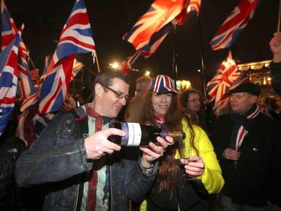 חגיגות הברקזיט בלונדון/ צילום:AP   Andrew Milligan