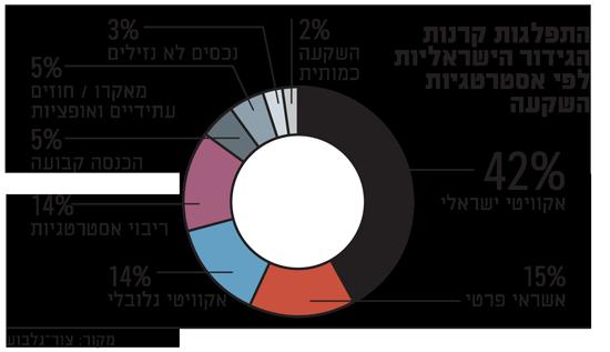 התפלגות קרנות הגידור הישראליות לפי אסטרטגיות השקעה