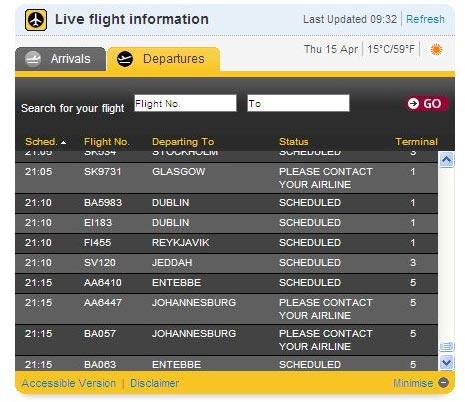 לוח טיסות שדה התעופה הית'רו /צלם: אתר שדה התעופה הית'רו