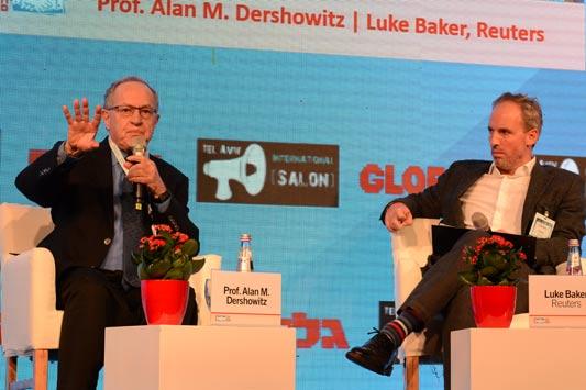 Luke Baker-Reuters , Prof. Alan M. Dershowitz-Harvard / צילום: איל יצהר