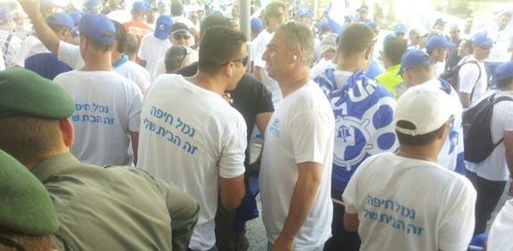 הפגנה של עובדי נמל חיפה / צילום: שי ניב