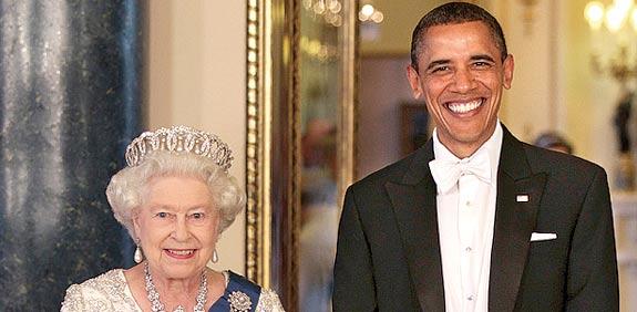ברק אובמה והמלכה אליזבת / צילום: רויטרס