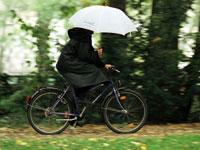 מזג אויר, גשם, חורף, מטריה, אופנים / צלם רויטרס