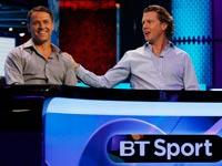 אולפן הכדורגל של ערוץ BT, מייקל אואן, סטיב מקמנמן / צלם: רויטרס