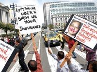 נהגי מוניות בקליפורניה מפגינים / צילום: רויטרס