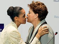 הנשיאה דילמה רוסף והמתמודדת מרינה סילבה / צילום: רויטרס