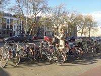 מצוקת חניה על מדרכות אמסטרדם / צילום: מירב מורן