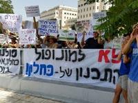 הפגנה על דיוני  קבינט הדיור / צילום: דב גרינבלט
