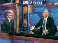 ג'ון סטיואר  מארח את ברק אובמה בדיילי שואו/ צילום: רויטרס