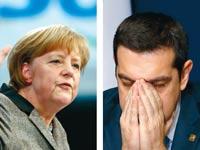 """רה""""מ היווני אלכסיס ציפראס וקנצלרית גרמניה אנגלה מרקל / צילום: רויטרס"""