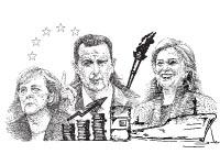 הילארי קלינטון בשאר אסד אנגלה מרקל / איורים: גיל ג'יבלי,  Shutterstock/ א.ס.א.פ קרייטיב