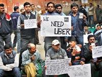 מחאה על ביטול אובר בהודו / צילום: רויטרס