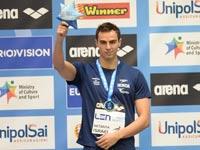 יעקב טומרקין זוכה במדליית כסף באליפות אירופה 2015 / צילום: עמית שיסל, באדיבות איגוד השחייה