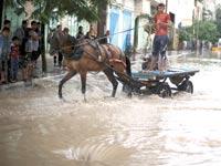 הצפה בחאן יונס, נובמבר שעבר. משבר המים - מהחמורים בעולם / צילום: רויטרס