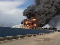 שריפה בתי זיקוק חיפה/  צילום: שרותי כבאות החוץ, ציום מסך חדשות 2