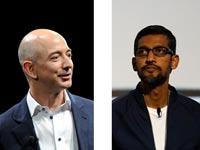 """מנכ""""ל אמזון, ג'ף בזוס ומנכ""""ל מיקרוסופט, סונדר פיצ'אי / צילומים: רויטרס"""