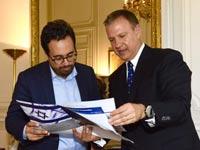 ח״כ אראל מרגלית עם שר החדשנות הדיגיטלית של צרפת מוניר מג׳ובי / צילום: ארז ליכטפלד