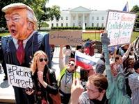 הפגנה נגד טראמפ מול הבית הלבן /  צילום: רויטרס
