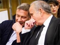 """עו""""ד גיורא אדרת ונוחי דנקנר בבית המשפט / צילום: שלומי יוסף"""