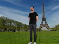 דמות תלת ממד של אורי ברקוביץ' מטיילת בפריז / עיבוד: פוטורו