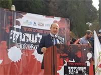 נפתלי בנט בהפגנת ראשי הרשויות מיו״ש