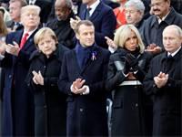 עמנואל מקרון, אנגלה מרקל, דונלד טראמפ וולדימיר פוטין במהלך טקס הזכרון בפריז / צילום: Reuters