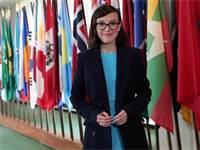 """מילי בובי בראון במליאת האו""""ם / צילום: Reuters"""