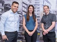 """מייסדי היילו. משמאל לימין - המנכ""""ל אור דנון, מנהלת הפיתוח העסקי הדר צייטלין, וה-CTO אבי באום / צילום"""