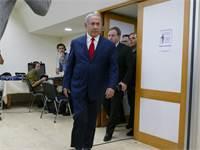 נתניהו בדרכו לנאום / צילום: אמיר מאירי