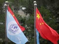 דגלי סין והאינטרפול/ צילום:רויטרס Jason Lee