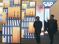 ביתן של חברת SAP בתערוכת טכנולוגיה בגרמניה / צילום: רויטרס