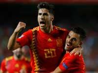 שחקני נבחרת ספרד חוגגים את הניצחון הגדול על קרואטיה בליגת האומות/ צילום: רויטרס