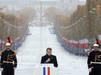 מקרון נואם בטקס לזכר הרוגי מלחמת העולם ה- 1 / צילום: רויטרס POOL New