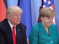 """נשיא ארה""""ב, דונלד טראמפ והקנצלרית הגרמניה, אנגלה מרקל / צילום:רויטרס - POOL New"""